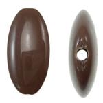 Beads Solid Color akrilik, Oval Flat, asnjë, ngjyra të forta, ngjyrë kafe, 19.50x39x6mm, : 2mm, 155PC/Qese,  Qese