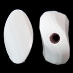 Beads Solid Color akrilik, Kthesë, asnjë, ngjyra të forta, e bardhë, 17x33x8.50mm, : 2.5mm, 145PC/Qese,  Qese