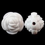 Beads Solid Color akrilik, Lule, asnjë, ngjyra të forta, e bardhë, 14x13mm, : 2mm, 450PC/Qese,  Qese
