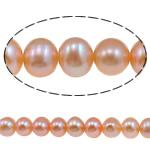 Barok Beads kulturuar Pearl ujërave të ëmbla, Pearl kulturuar ujërave të ëmbla, Oval, natyror, rozë, 6-7mm, : 0.8mm, : 15Inç,  15Inç,