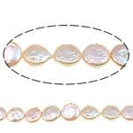 Monedhë Beads ujërave të ëmbla kulturuar Pearl, Pearl kulturuar ujërave të ëmbla, natyror, rozë, 10-11mm, :14.5Inç,  14.5Inç,