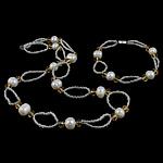 Natyrore kulturuar Pearl ujërave të ëmbla bizhuteri Sets, Pearl kulturuar ujërave të ëmbla, with Kristal & Seed Glass Beads, Oval, natyror, e bardhë, 9-10mm, :17Inç,  I vendosur