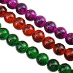 Glass Beads Moda, Xham, Round, pikturë, asnjë, ngjyra të përziera, 8mm, : 1.5mm, : 31.5Inç, 10Fillesat/Qese,  Qese