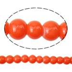 Gur i çmuar imitim Glass Beads, Xham, Round, asnjë, asnjë, kuq pak portokalli, 6mm, : 1.5mm, : 31.5Inç, 10Fillesat/Qese,  Qese