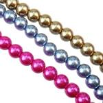 Glass Beads Pearl, Xham, Round, asnjë, asnjë, ngjyra të përziera, 10mm, : 1.5mm, : 31.5Inç, 10Fillesat/Qese,  Qese