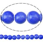 Gur i çmuar imitim Glass Beads, Xham, Round, asnjë, asnjë, blu, 6mm, : 1.5mm, : 30Inç, 10Fillesat/Qese,  Qese