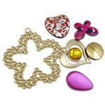 Beads akrilik të përziera, Shape përziera, asnjë, i përzier, ngjyra të përziera, 21-66mm, : 2-4mm, 170PC/Qese,  Qese