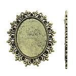 Cilësimet Zink Alloy Cabochon, Alloy zink, Oval, Ngjyra antike bronz i praruar, asnjë, asnjë, , nikel çojë \x26amp; kadmium falas, 49x57x1.50mm, : 1mm, : 30x40, 2.5mm, 20PC/Qese,  Qese