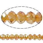 Rondelle Beads Crystal, Kristal, Ngjyra AB kromuar, asnjë, Ngjyra metalike praruar, 10x8mm, : 1.5mm, : 11.8Inç, 10Fillesat/Qese,  Qese