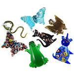 Pendants Lampwork Fashion, Kafshë, punuar me dorë, petë ari, ngjyra të përziera, 33x52.5x5mm, 44x53x19mm, 290x220x20mm, : 4-9mm, 12PC/Kuti,  Kuti