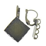 Llozi tunxh Back Vath Komponenti, Shape Tjera, Ngjyra antike bronz i praruar, asnjë, asnjë, , nikel çojë \x26amp; kadmium falas, 21.5x32x11mm, 3mm, 20x20mm, 100Çiftet/Qese,  Qese