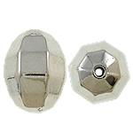 Veshura bakri Beads plastike, plastike bakrit të veshura, Oval, ngjyrë platin praruar, asnjë, , nikel çojë \x26amp; kadmium falas, 19x27mm, : 2mm, 166PC/KG,  KG