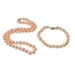 Natyrore kulturuar Pearl ujërave të ëmbla bizhuteri Sets, Pearl kulturuar ujërave të ëmbla, Round, natyror, rozë, 7mm, :16.5Inç,  7Inç,  I vendosur
