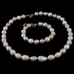Natyrore kulturuar Pearl ujërave të ëmbla bizhuteri Sets, Pearl kulturuar ujërave të ëmbla, Oriz, natyror, ngjyra të përziera, 11-12mm, :16.5Inç,  7Inç,  I vendosur
