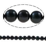 Round Beads kulturuar Pearl ujërave të ëmbla, Pearl kulturuar ujërave të ëmbla, natyror, e zezë, Një, 8-9mm, : 0.8mm, : 15Inç,  15Inç,