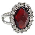Zink Alloy Ring Finger, Alloy zink, Oval, ngjyrë platin praruar, me diamant i rremë, i kuq, , nikel çojë \x26amp; kadmium falas, 22.50x27x21mm, : 19mm, :9,  PC
