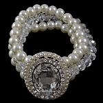 Bracelets Crystal, Kristal, with Glass Pearl & Alloy zink, Oval, asnjë, me diamant i rremë, 31x38x8mm, : 7.5Inç,  7.5Inç,