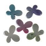 Beads plumb Zi akrilik, Flutur, plumbit ngjyrë të zezë praruar, ngjyra të forta, ngjyra të përziera, 46x35x7.50mm, : 3.5mm, 5KG/Shumë,  Shumë