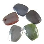 Beads plumb Zi akrilik, Trapez, plumbit ngjyrë të zezë praruar, ngjyra të forta, ngjyra të përziera, 24x30x8mm, : 2.5mm, 5KG/Shumë,  Shumë