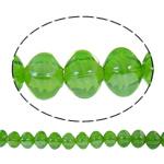 Beads praruar Lampwork, Katror, i praruar, asnjë, drita e gjelbër, 13x14mm, : 2mm, : 16.5Inç, 10Fillesat/Qese,  Qese