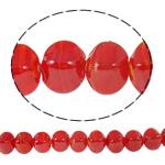 Beads praruar Lampwork, Katror, i praruar, asnjë, i kuq, 13x14mm, : 2mm, : 16.5Inç, 10Fillesat/Qese,  Qese