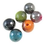 Beads plumb Zi akrilik, Round, plumbit ngjyrë të zezë praruar, ngjyra të forta, ngjyra të përziera, 12mm, : 2.5mm, 5KG/Shumë,  Shumë
