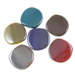 Beads plumb Zi akrilik, Monedhë, plumbit ngjyrë të zezë praruar, ngjyra të forta, ngjyra të përziera, 23x23x5.50mm, : 2.5mm, 5KG/Shumë,  Shumë