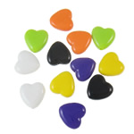 Beads Solid Color akrilik, Zemër, asnjë, ngjyra të forta, ngjyra të përziera, 13x13x5mm, : 2mm, 5KG/Shumë,  Shumë