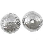 Veshura bakri Beads plastike, plastike bakrit të veshura, Round, ngjyrë platin praruar, asnjë, asnjë, , nikel çojë \x26amp; kadmium falas, 12x12mm, : 2mm, 1111PC/KG,  KG