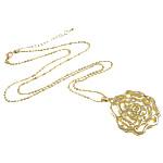 Zinklegierung Schmuck Halskette, mit Eisen, Zinklegierung Karabinerverschluss, Blume, goldfarben plattiert, hohl, frei von Nickel, Blei & Kadmium, 36x38x8mm, verkauft per ca. 23.5 ZollInch Strang