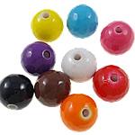 Beads pikturuar akrilik, Round, pikturë, asnjë, ngjyra të përziera, 12mm, : 2mm, 5KG/Shumë,  Shumë