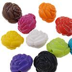 Akrilik Beads i mbuluar me brymë, Lule, asnjë, ngjyra të përziera, 14x14x13mm, : 2mm, 5KG/Shumë,  Shumë