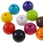 Beads Solid Color akrilik, Round, asnjë, ngjyra të forta, ngjyra të përziera, 15mm, : 3mm, 5KG/Shumë,  Shumë