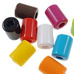 Beads Solid Color akrilik, Kolonë, asnjë, ngjyra të forta, ngjyra të përziera, 11x14.5mm, : 5mm, 5KG/Shumë,  Shumë