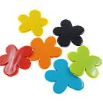 Beads Solid Color akrilik, Lule, asnjë, ngjyra të forta, ngjyra të përziera, 46x43x6mm, : 3mm, 5KG/Shumë,  Shumë