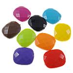 Beads Solid Color akrilik, Drejtkëndësh, asnjë, ngjyra të forta, ngjyra të përziera, 20x23.50x8.50mm, : 2mm, 5KG/Shumë,  Shumë