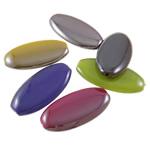 Beads plumb Zi akrilik, Oval Flat, plumbit ngjyrë të zezë praruar, ngjyra të forta, ngjyra të përziera, 20x40x6mm, : 2mm, 5KG/Shumë,  Shumë