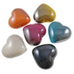 Beads plumb Zi akrilik, Zemër, plumbit ngjyrë të zezë praruar, ngjyra të forta, ngjyra të përziera, 29x27x16mm, : 3mm, 5KG/Shumë,  Shumë