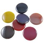 Beads plumb Zi akrilik, Round Flat, plumbit ngjyrë të zezë praruar, ngjyra të forta, ngjyra të përziera, 21x4.5mm, : 1.5mm, 5KG/Shumë,  Shumë