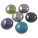 Beads plumb Zi akrilik, Round Flat, plumbit ngjyrë të zezë praruar, ngjyra të forta, ngjyra të përziera, 17x10mm, : 3mm, 5KG/Shumë,  Shumë