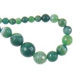 Beads Dashuri Green agat, Jeshile agat, Round, asnjë, faceted & shirit, 6-14mm, : 1mm, : 18Inç, 5Fillesat/Shumë,  Shumë