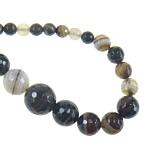 Agat Beads, Agat Kafe, Round, asnjë, faceted & shirit, 6-14, : 1mm, :18Inç, 5Fillesat/Shumë,  Shumë