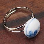 Zink Alloy Ring Finger, Porcelan, Oval, punuar me dorë, asnjë, asnjë, 10mm, 5PC/Shumë,  Shumë