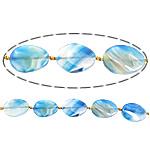Beads Blue Natyrore agat, Blue agat, Oval Flat, asnjë, 32x43x7mm, : 3mm, :13Inç, 10Fillesat/Shumë,  Shumë
