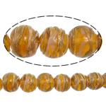 Gold petë Beads Lampwork, Round, asnjë, petë ari, portokall, 12x11mm, : 2mm, : 10Inç, 5Fillesat/Shumë,  Shumë