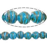 Gold petë Beads Lampwork, Round Flat, asnjë, petë ari, blu, 12x11mm, : 2mm, : 10Inç, 5Fillesat/Shumë,  Shumë