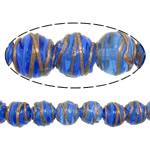 Gold petë Beads Lampwork, Round, asnjë, petë ari, blu, 12x11mm, : 2mm, :10Inç, 5Fillesat/Shumë,  Shumë