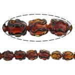 Beads Lampwork me gunga, Oval, asnjë, asnjë, kuq pak portokalli, 18x12mm, : 2mm, :10Inç, 5Fillesat/Shumë,  Shumë