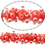 Beads Lampwork me gunga, Shape Tjera, asnjë, asnjë, i kuq, 12x10mm, : 2mm, : 10.5Inç, 5Fillesat/Shumë,  Shumë