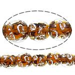 Sand Gold \x26amp; Silver Lampwork petë, Round, asnjë, rërë ari dhe argjendi me letër varaku, portokall, 12mm, : 3mm, : 11Inç, 10Fillesat/Shumë,  Shumë